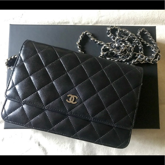 0f5b8fb0fde4 CHANEL Handbags - Authentic Chanel lamb skin wallet on chain (WOC)